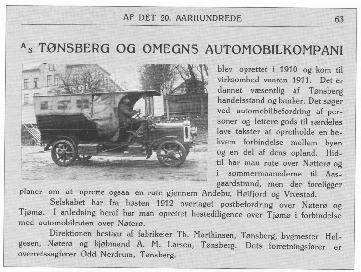 """Aktieselskapet Tønsberg og Oplands Automobilsos Leyland, populært kalt """"Rist meg hjem"""". Faksimile fra Tønsberg og omegns næringsliv ved begyndelsen af det 20. aarhundrede. Forlaget Norge: Kristiania 1913."""