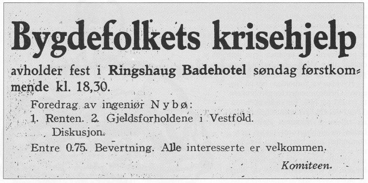 Annonse for fest på Ringshaug Badehotell I. januar 1934. Programmet virker alvorlig nok.