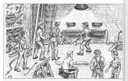 Vasketroa i skipsbyggeriet. Legg merke til mannen som kommer med et glodhett jernstykke for å var-me opp vannet. Tegning av William A. Liverød.