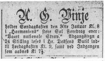 Vinje passet naturligvis på å tale når han også var på sine reportasjeturer. Så også i Tønsberg i 1870.