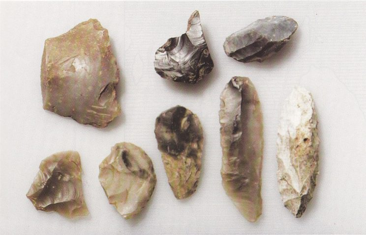 Materiale fra nordfeltet med typiske mikroflekker og håndstakskjerner til høyre (Foto Universitetets Oldsaksamling)