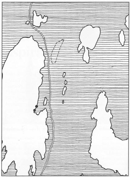 Kartet viser Strengsdal for ca. 8000 år siden. Våre dagers vei og Strengsdalsvannet er stiplet inn. Funnstedene er markert med Sorte Sirkler. (Tegnet av Vera Hansen)