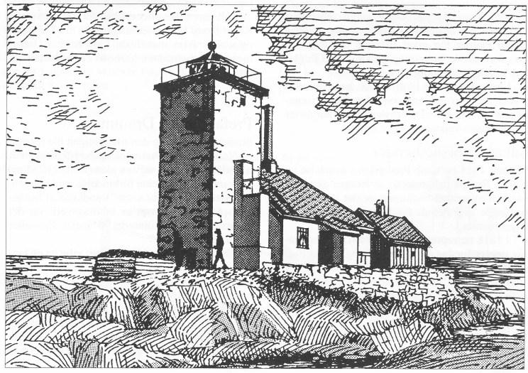 Fyrbygningen før 1900 (Etter foto. Kystdirektoratet).