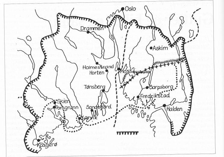 Yttergrensa for vikværsk. (Fra Ernst Håkon Jahr (red.): «Den store dialektboka», 1990.)