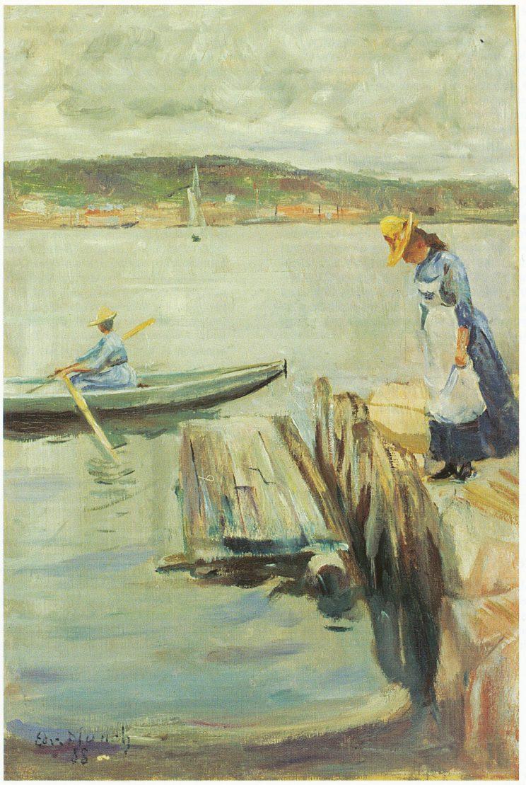 Kvinne på brygge og kvinne i båt, malt i Vrengen 1888. Privat eie.