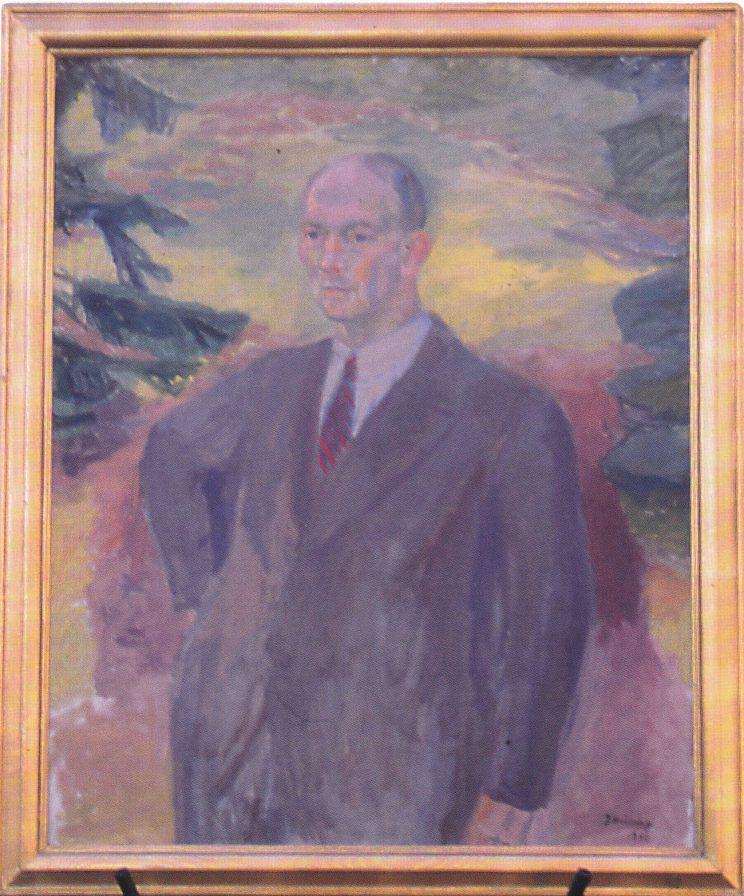 Portrettmaleri av Thorvald Berg. Henger over kaminen på Ekeberg eldresenter.