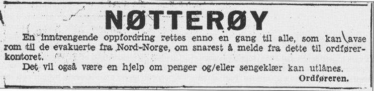 Ordfører Frich prøvde via annonser i Tønsbergs Blad å bevege nøttlendingene til å avstå både husrom og husgeråd til de tvangsevakuerte fra Finnmark.