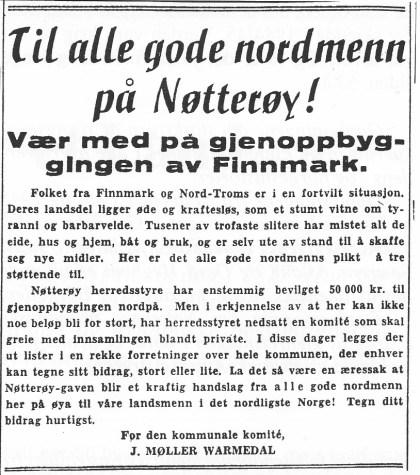 Etter krigen oppfordret «den kommunale komite» alle gode nordmenn til å være med på gjenoppbyggingen av Finnmark.