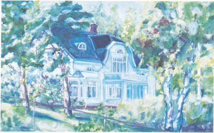 Jørgen Øhres bolig i Kvernhusveien ( ) 9 som han fikk bygget i 1913. Solgt til fam. Vegard i 1941. Huset brant senere. Maleri av Siri Solemsli. (Gjengitt med tillatelse av Kitty Vegard. (Foto S.H.)