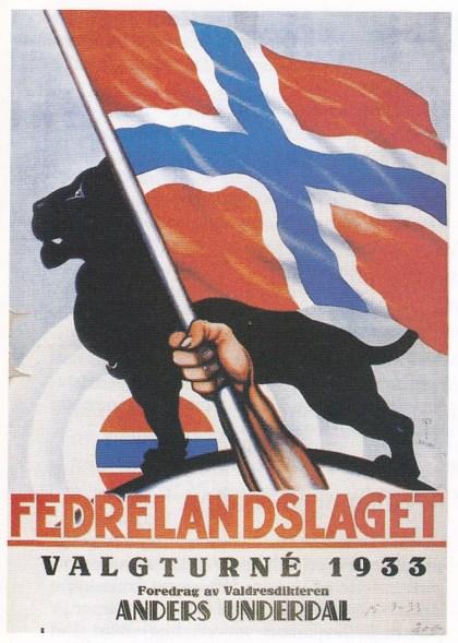Fedrelandslagets valgplakat 1933. Symbolet med den sterke hånden som fatter om en flaggstang, ble brukt i mange sammenhenger i 1930årene. Fra Aschehoug, Norges Historie.