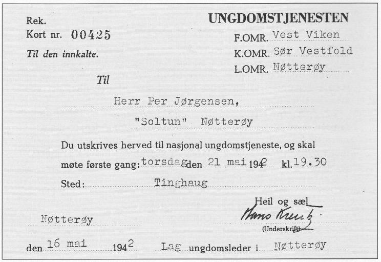Innkalling av barn til ungdomstjeneste på Nøtterøy.