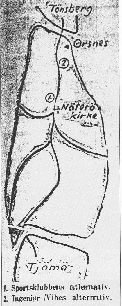 Skisse som viser to alternativer til plassering av en eventuell idrettsplass. Vestre Elgestad og Teie-jordet. Ingen av alternativene bledet noe av, men i 1923 ble det fotballbane på jordetnedenfor Tinghaug.