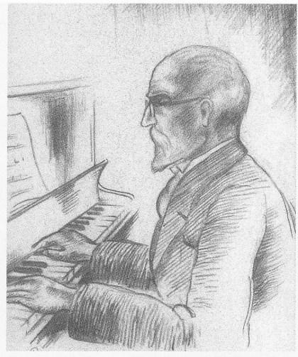Victor Riedel tegnet på Tønsberg kommunale høyere almenskole i 1941 av sin elev, den senere kjente kunstneren Hans Gerhard Sørensen. Utlånt av forfatteren.