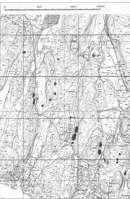Steinbrudd på Søndre del av Nøtterøy. (Statens Kartverk.)