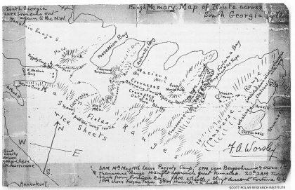 Frank Worsleys skisse over ruten han, Thomas Crean og Shackleton fulgte fra Kong Haakon Bay til Strømnes, feilaktig markert med Husvik. På 36 timer krysset de utmattede polfarerne Syd Georgias ukjente indre — en fantastisk prestasjon. (National Geographic november 1998.)
