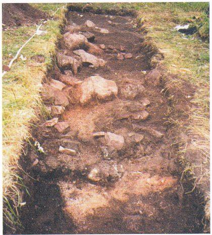 Felt HII, 1999. Slik så feltet ut rett etter torva og det øvre jordlaget var fjernet. Bildet er tatt fra nord mot sør. I midten ses toppen av Steinvollen. På denne siden av vollen, mot profilen til venstre, ligger kullområdet L9/99. Under dette ses øvre deler av det røde laget L8/99. (Foto: Eli Ulriksen.)