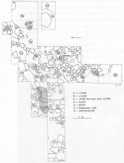 Det undersøkte området med hovedstrukturer inntegnet. Markeringene A — G viser plassering av ildsteder. De stiplede linjer viser skiller mellom kulturlag. T-markeringene viser at terrenget/laget skråner.