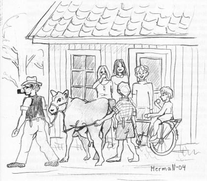 """Pue ku, pue ku, pue ku,"" ropte minstemann utenfor Bergan bakeri, hvor det var samlingssted etter skoletid. Wilhelm fikk mange saftige kommentarer. (Tegning: Svein Hermansen)"