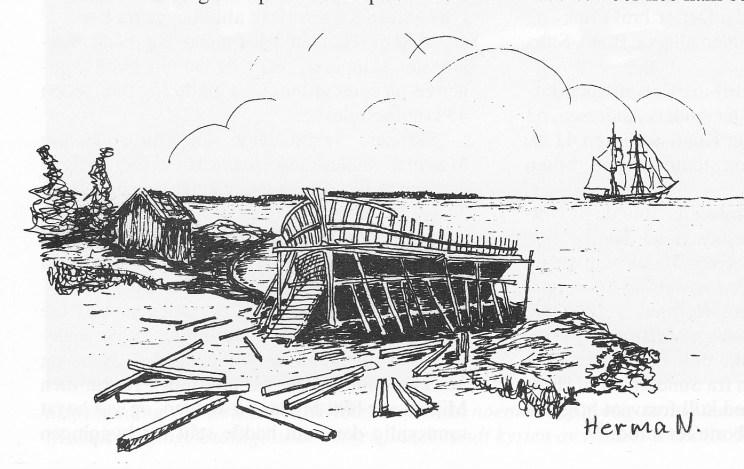 Omkring århundreskiftet 1800 og utover i 1800-årene var det en god del skipsbygging langs strendene våre. En passelig skrånende strand, uten permanente bygninger eller anlegg av noe slag var alt som skulle til. (Tegning: S. Hermansen)