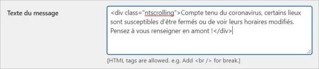 Scrolling text on WordPress
