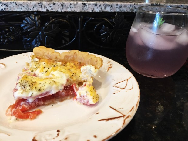 Tomato pie and lemonade cocktail