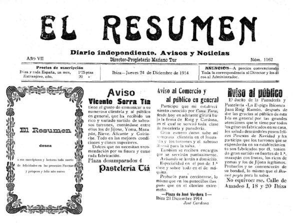 Ara fa cent anys. Muntatge de la portada del periòdic eivissenc 'El Resumen' del 24 de desembre de 1914 en el qual es veu, devora la felicitació nadalenca als seus lectors, els tres anuncis a la portada de pastisseries de Vila oferint els torrons artesanals i altres productes nadalencs als potencials compradors.