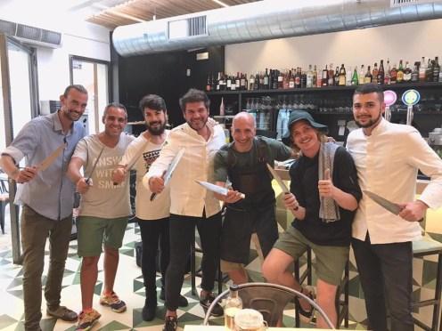 De derecha a izquierda; Alvaro Ospina (Re.art), Boris Buono, Ramón Utset (Utset), David Reartes (Re.art) José Angel Sanchez (La Cava), Pau Barba (Can Domo), Cristian (Warehouse).