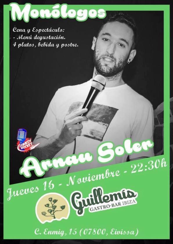 Póster del show de humor que ofrecerá Arnau Soler este jueves en es Guillemis.