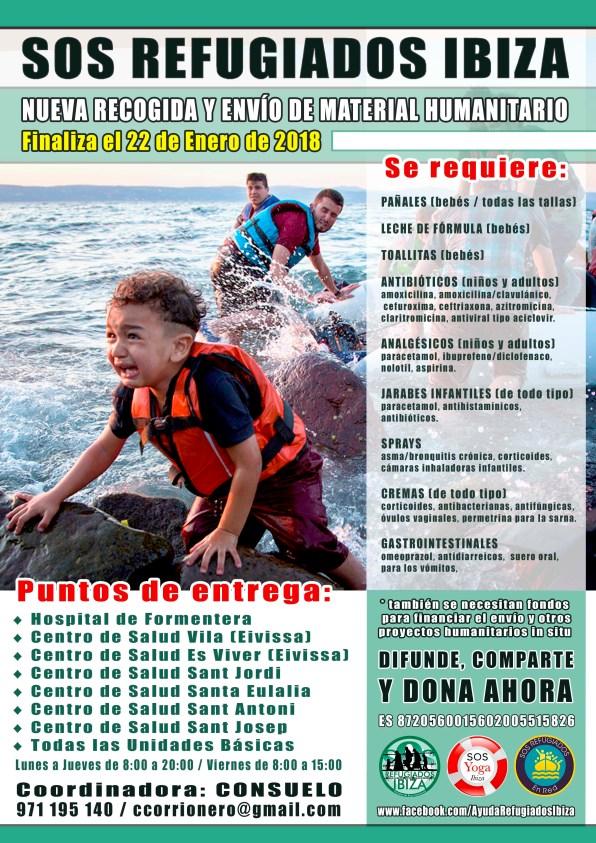 Cartel de la campaña de recogida de SOS Refugiados