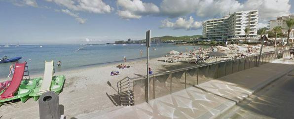 Playa des Pouet, en la bahía de Sant Antoni. Foto Google Maps