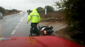 Moto accidentada en Formentera