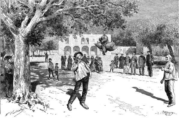 Juego con gallo en Santa Eulària des Riu. 1893. Grabado de Gaston Vuillier.