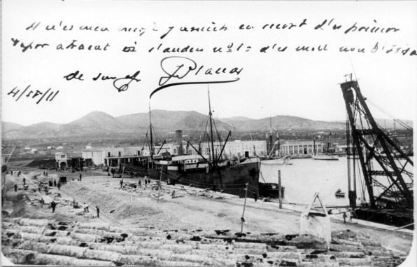 Construcción de los muelles del puerto de Eivissa. Año 1911. Colección Vicente Tur Guasch Fornàs.