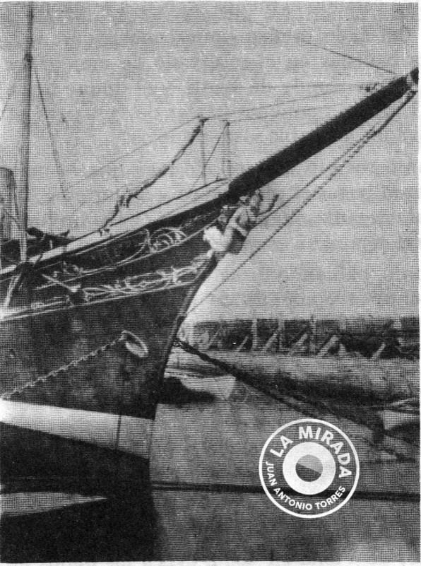 Proa del barco 'Nixe' del Archiduque Luis Salvador de Austria. Siglo XIX. Foto del libro 'S'Arxiduc' de Juan March. J.J. de Olañeta Editor, 1983.