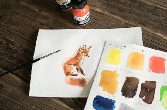 acrylic inks fox painting