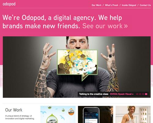 Odopod in 50 Fresh Interactive Studio and Social Media Agency Websites