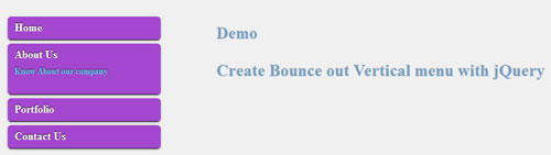 Create Bounce out Vertical menu with jQuery