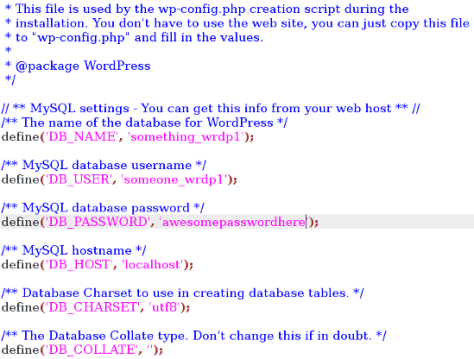 WordPress Database Details in wp-config.php