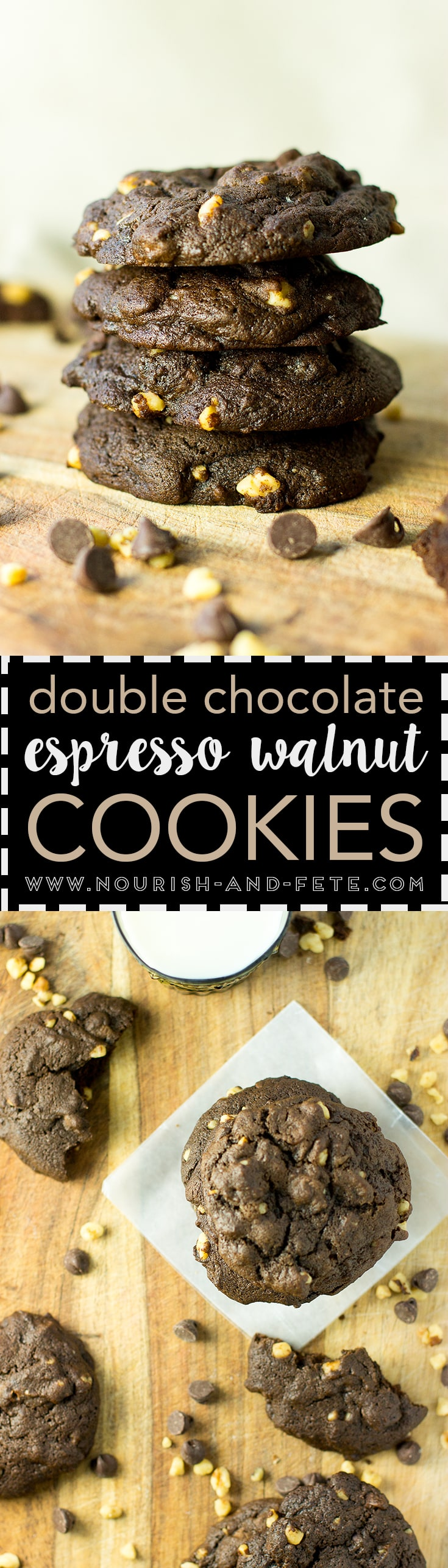 Thick, chewy chocolate espresso cookies stuffed with chocolate chips and walnuts. Mixed in one bowl in less than 10 minutes. Perfection!