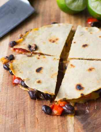 Spicy black bean and roasted red pepper quesadillas