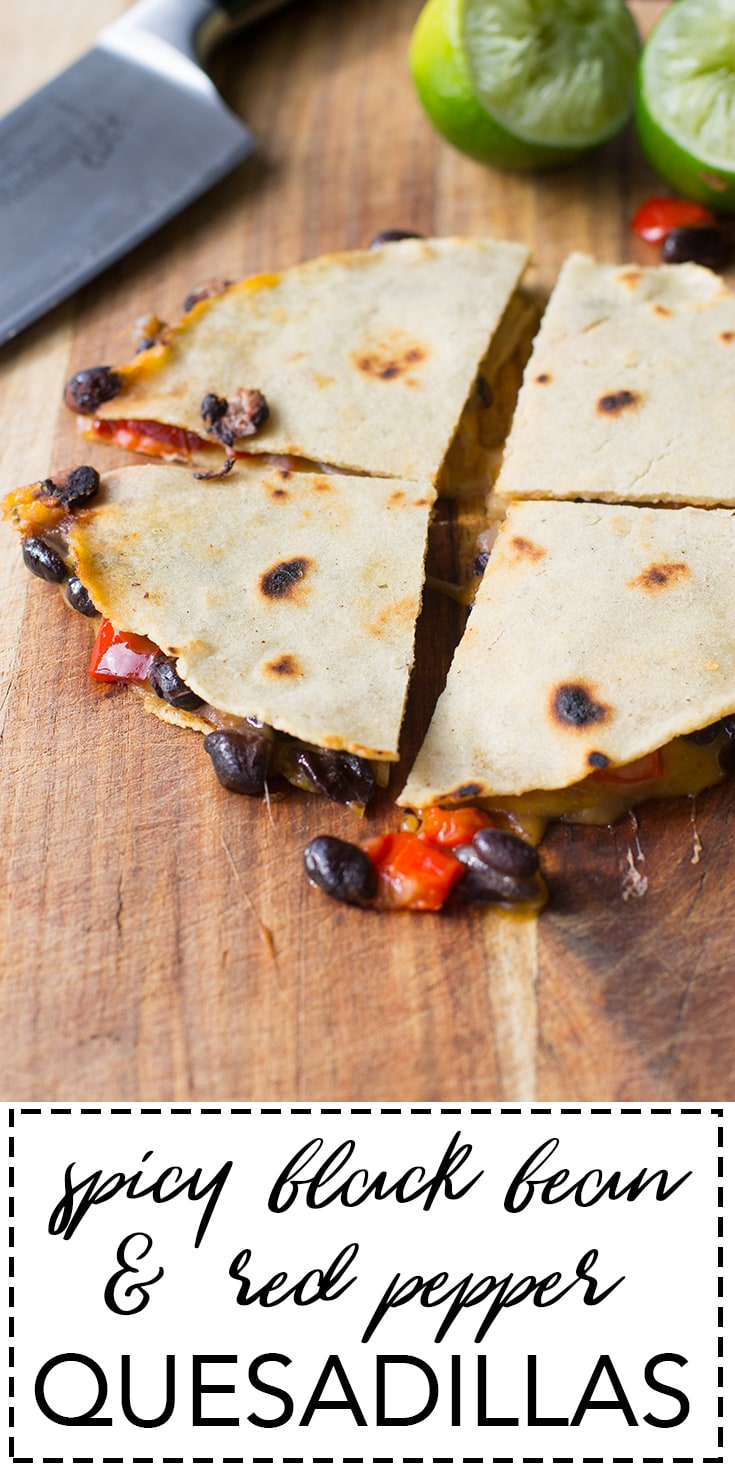 Spicy black bean quesadillas with roasted red peppers and cheese. A filling and flavorful meatless meal!