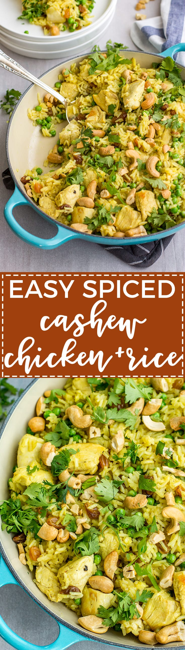 Easy spiced cashew chicken and rice - a quick, delicious one-pot weeknight dinner kicked up with curry, cilantro, and fresh ginger.