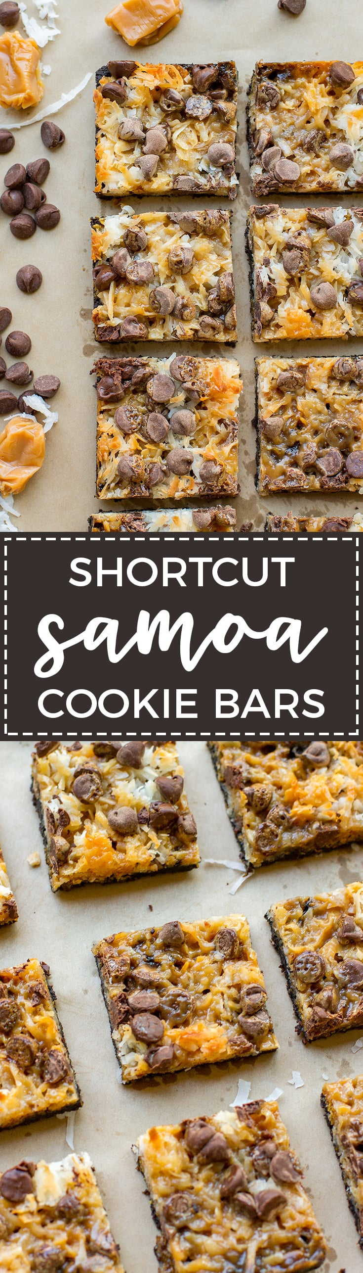 Shortcut Samoa cookie bars | Chocolate chips, salted caramel, sweetened coconut, and an Oreo crust make an easy at-home version of the classic Girl Scout cookie.