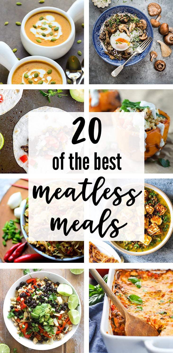 Be ready for meatless Monday with this collection of 20 delicious, simple, and satisfying vegetarian dinner ideas. Meatless tacos, enchiladas, soup, curry, nachos, noodles, spaghetti, lasagna and more.