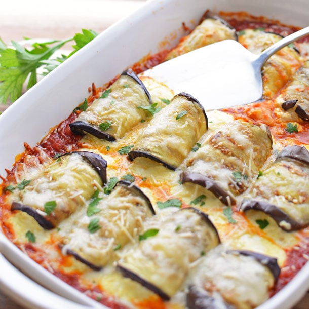 Cheesy eggplant stuffed shells - simpleseasonal.com