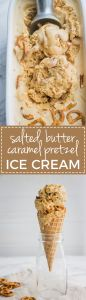 Salted caramel pretzel ice cream | Sweet, creamy, buttery homemade custard ice cream with rich caramel flavor. #icecream #saltedcaramel