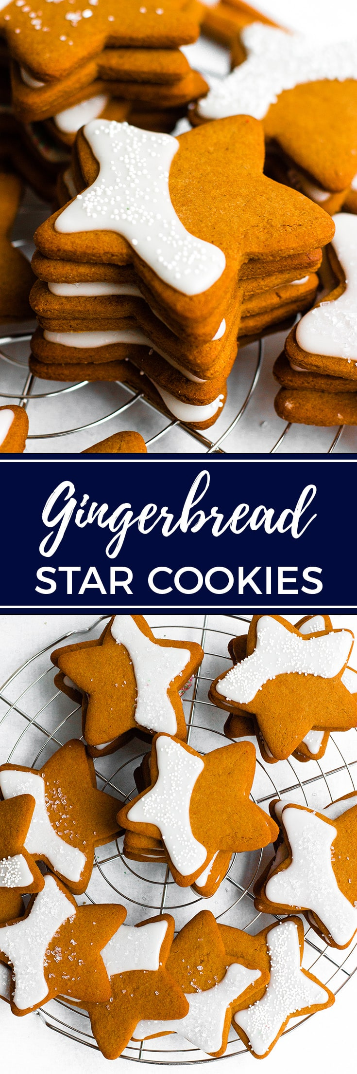 Gingerbread star cookies   A Christmas tradition with slightly crisp edges, chewy centers, and the warm flavors of molasses, brown sugar, and spices. #christmascookies #gingerbread