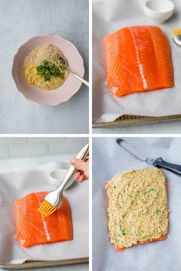 Illustrated steps to making mustard-crusted panko salmon.