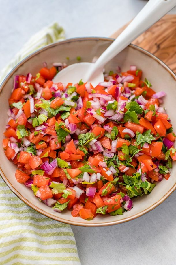 Close-up of a bowl full of homemade pico de gallo.