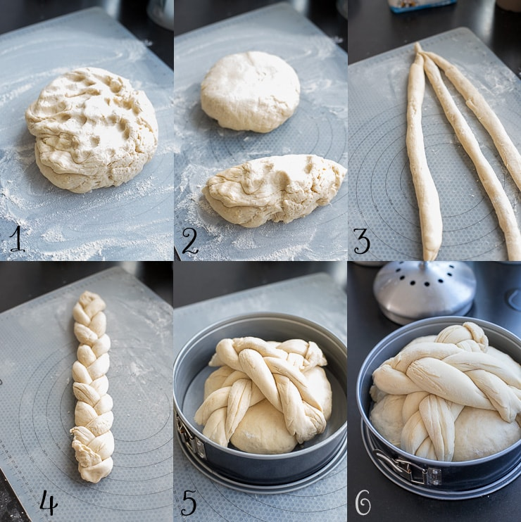 Step-by-step photos showing how to shape a braided cross to top a loaf of homemade Paska, the traditional Slovak Easter bread.